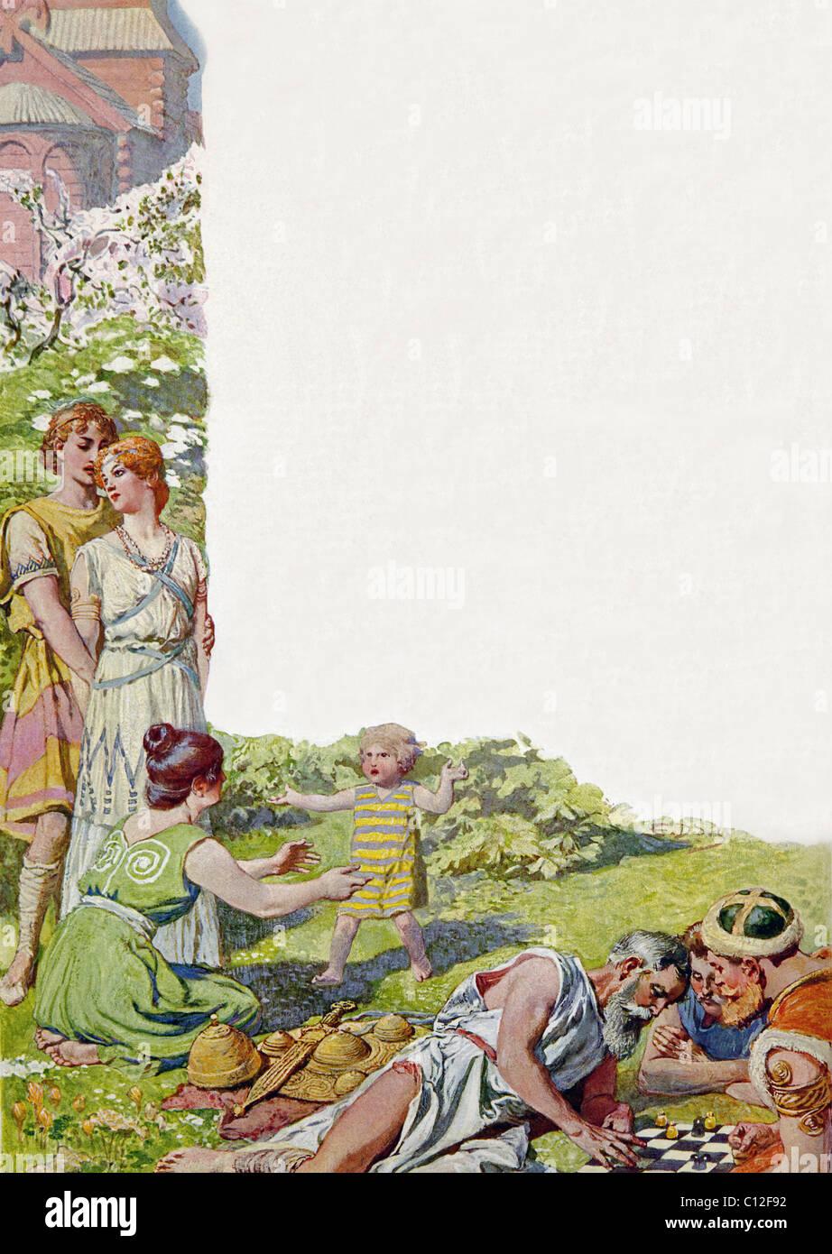 Nordischen Mythos besagt, dass ein goldenes Zeitalter (hier abgebildet) Ragnarok, dem Untergang der Götter Stockbild