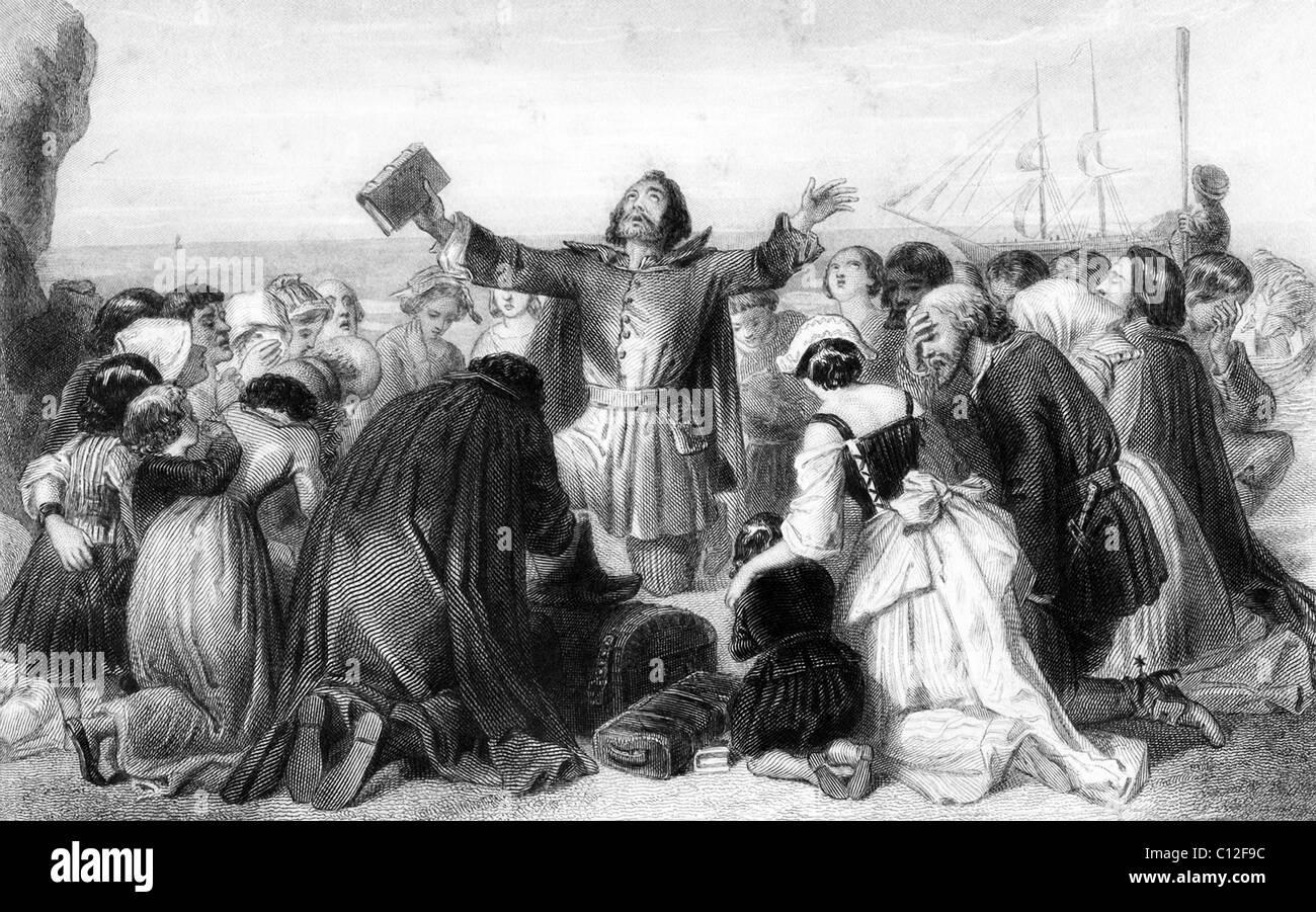 In der amerikanischen Geschichte waren die Pilger hier ausgehend von Leiden, die Gründer von Plymouth Kolonie Stockbild