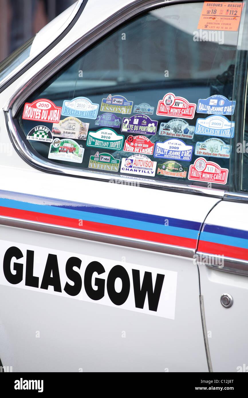 Detail eines Autos geparkt in Glasgow vor dem Start der 2011 Monte Carlo Classic Car Rallye, Schottland, Vereinigtes Stockbild