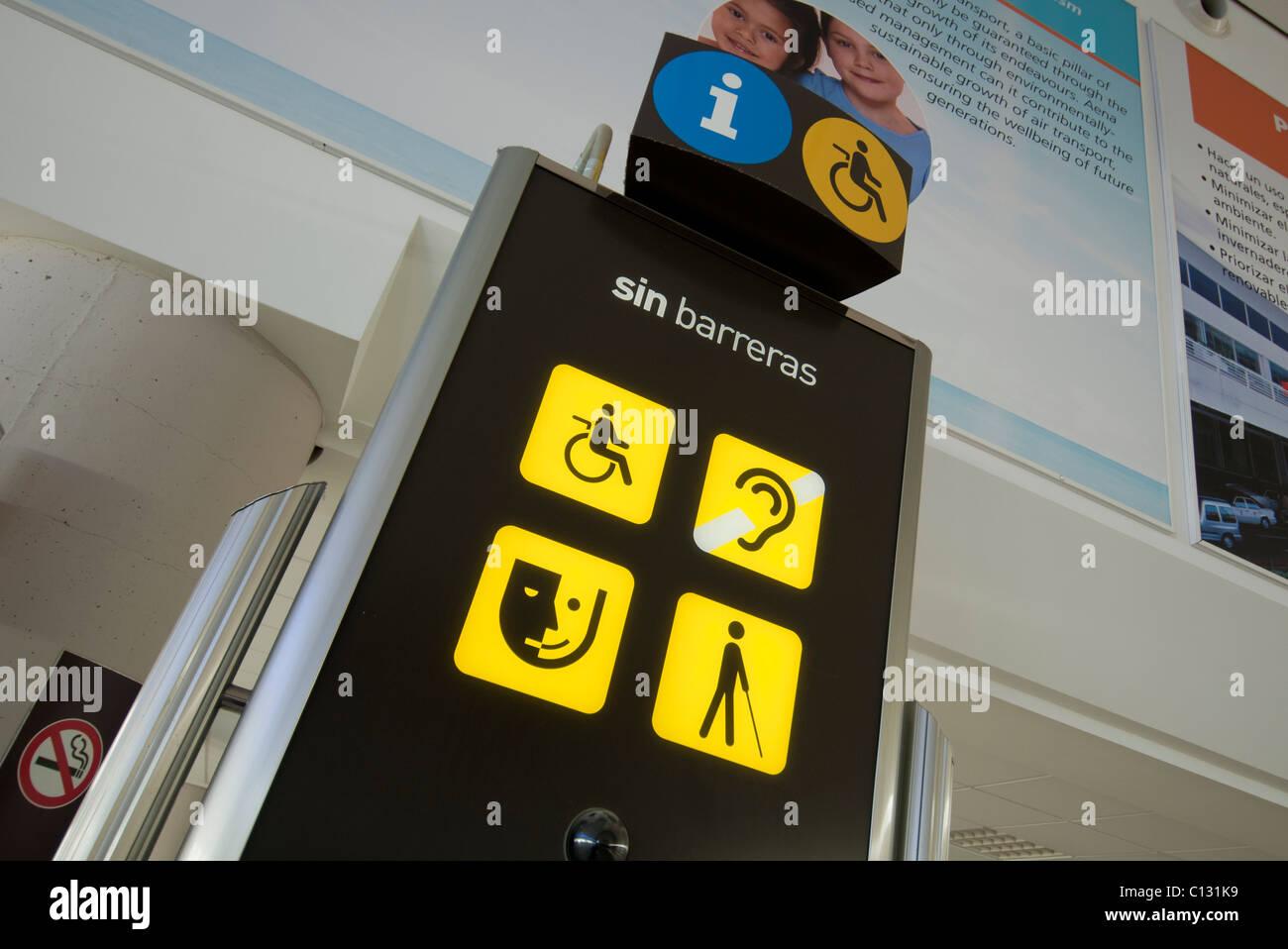 Informationsschild Punkt Lanzarote Flughafen Stockbild