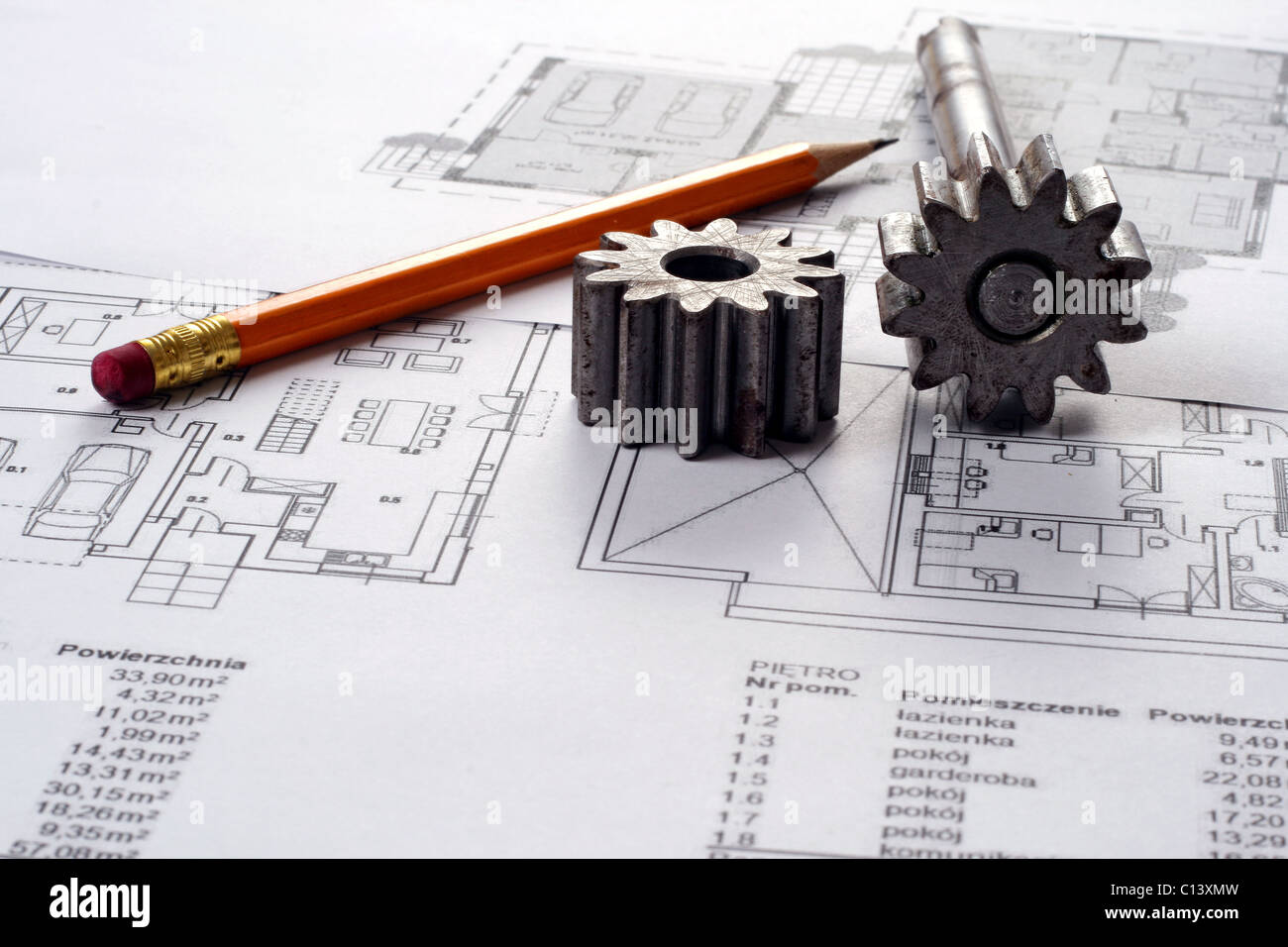 Construction Plan Blueprints Drafting Tools Stockfotos ...