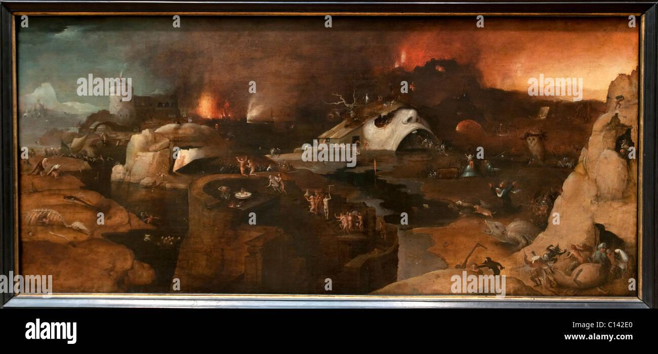 Christi Höllenfahrt, vom Stil des Hieronymus Bosch, Stockbild