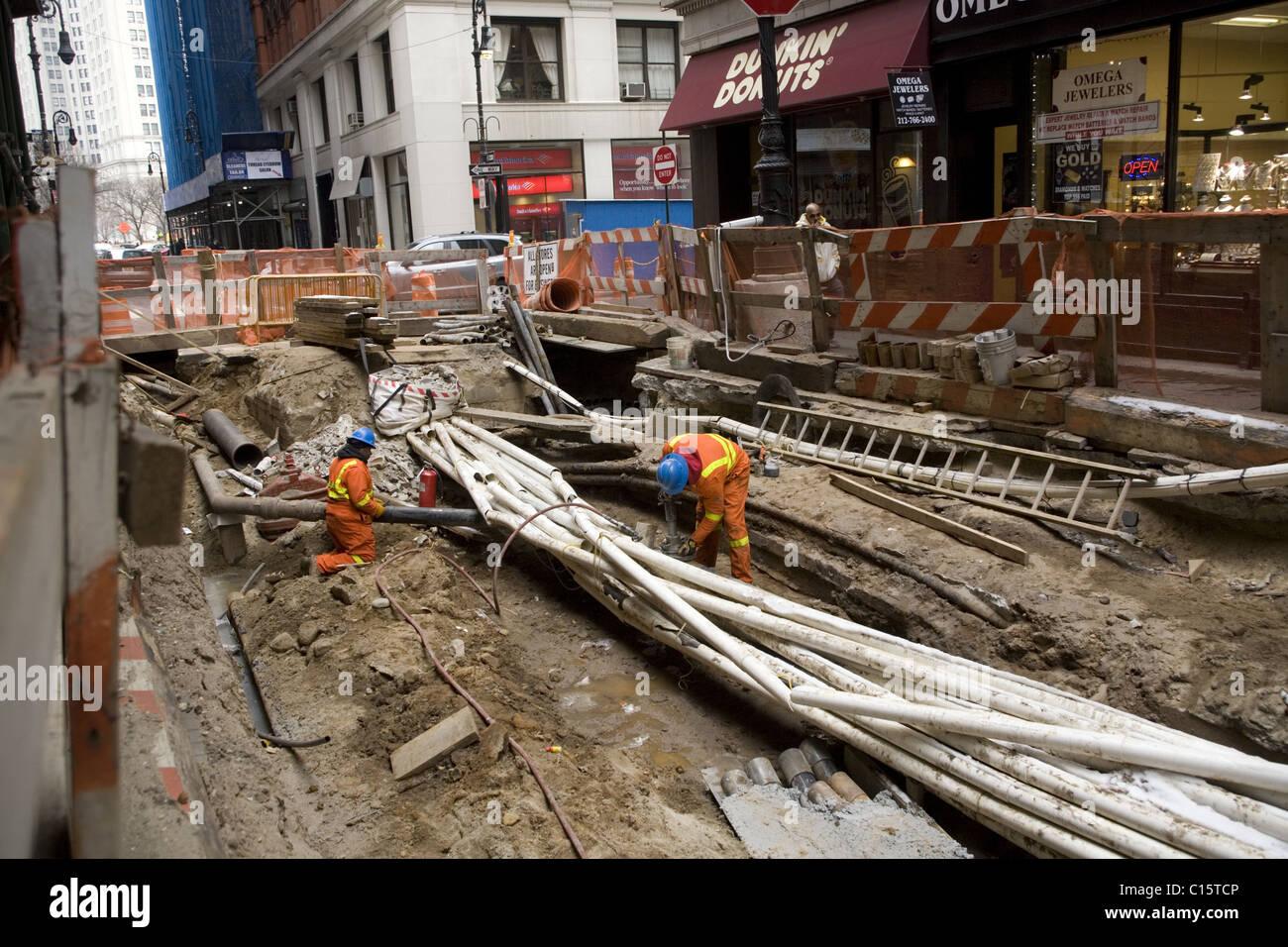 Zitze Straßen, Infrastruktur zu beheben sind gemeinsame Sehenswürdigkeiten in lower Manhattan. Nassau Stockbild