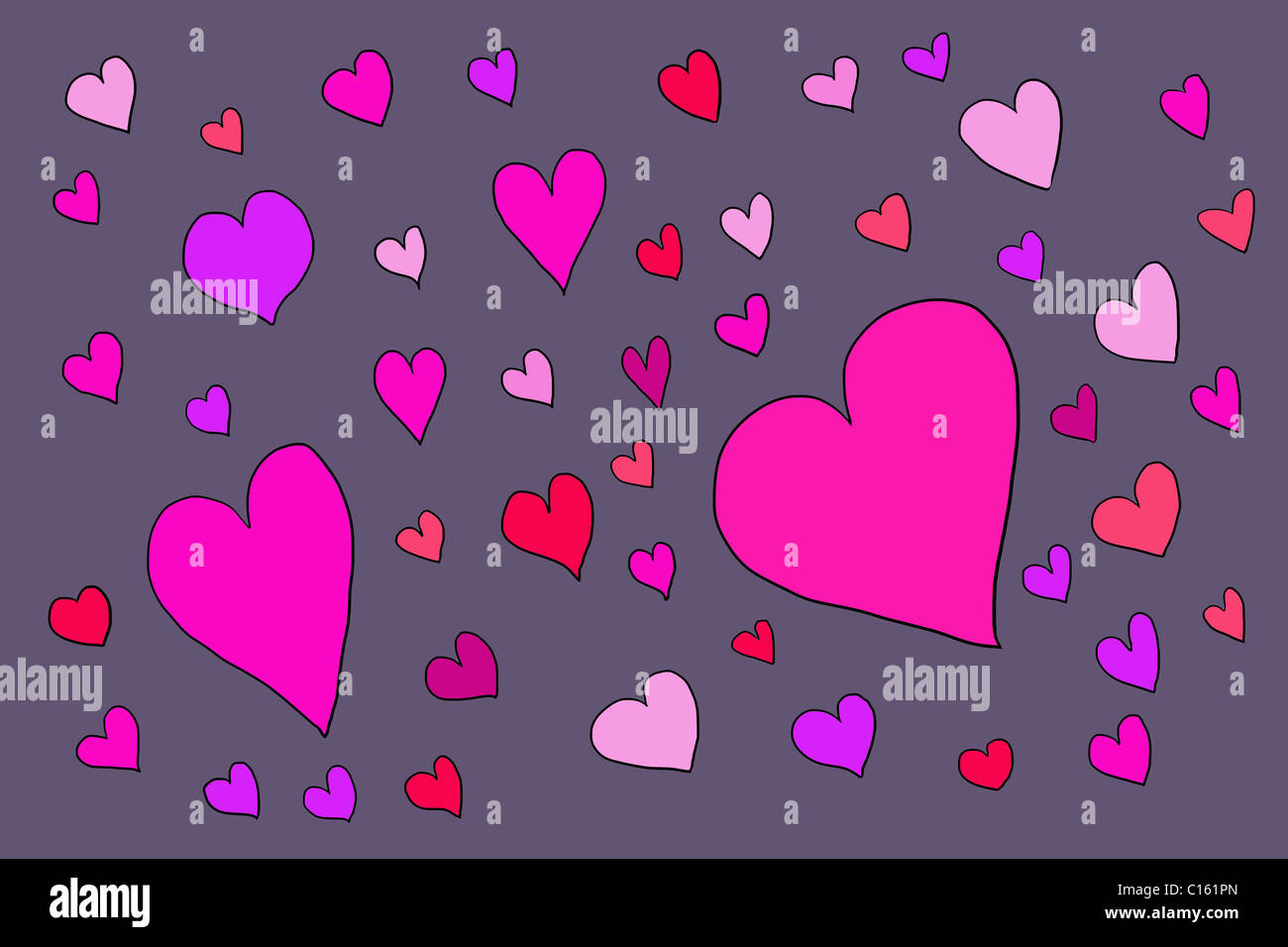 Große Anzahl von Herzformen, Abbildung Stockfoto