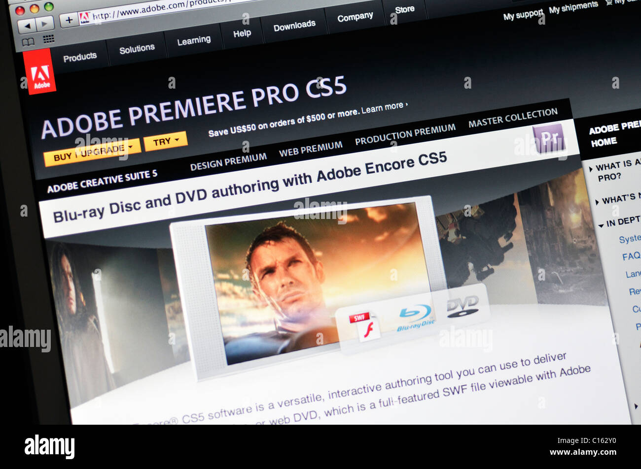 Adobe Premiere Pro CS5-website Stockbild