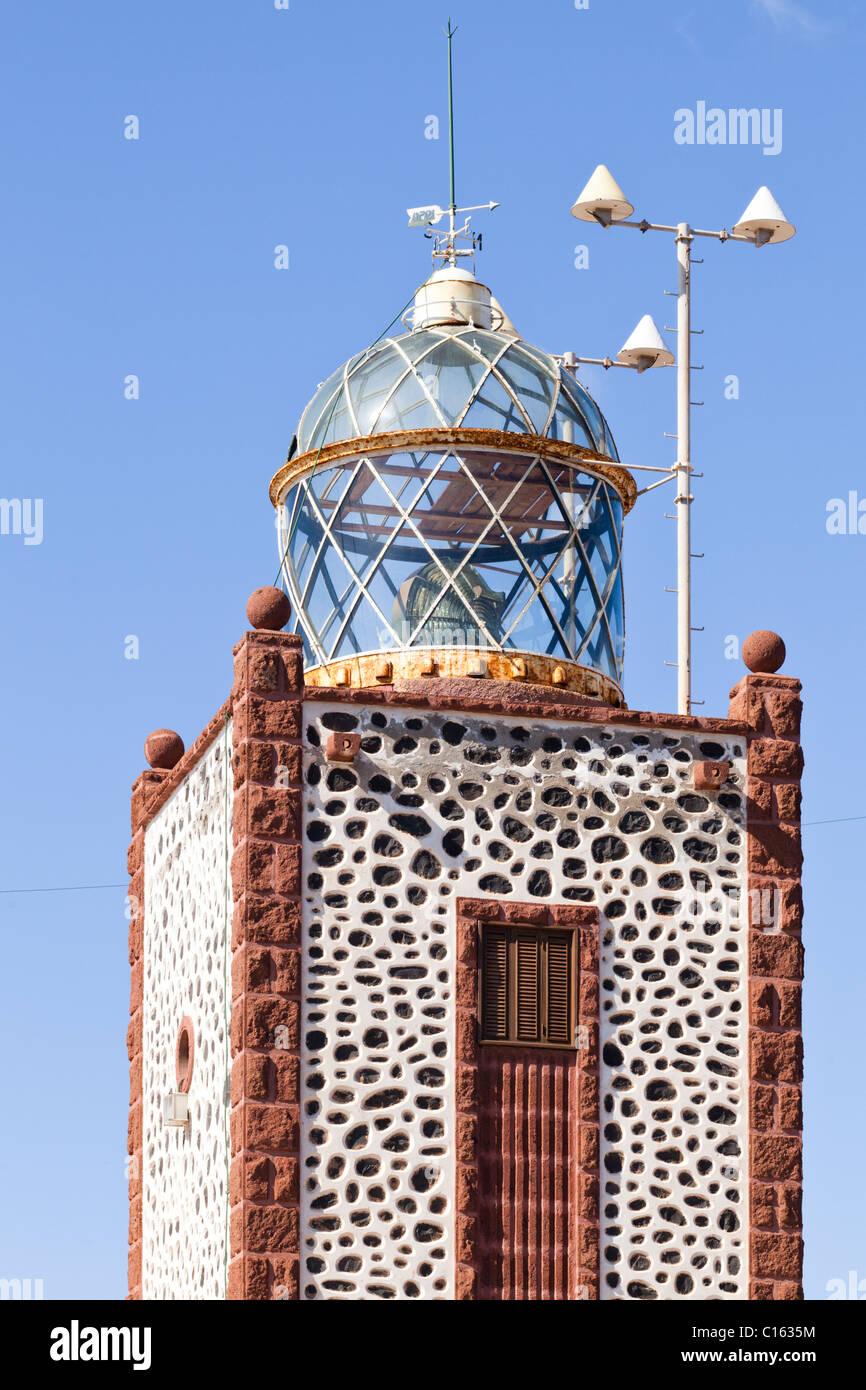 Der Leuchtturm El Faro De La Entallada, in der Nähe von Las Playitas oder Las Playas auf der Kanarischen Insel Stockbild