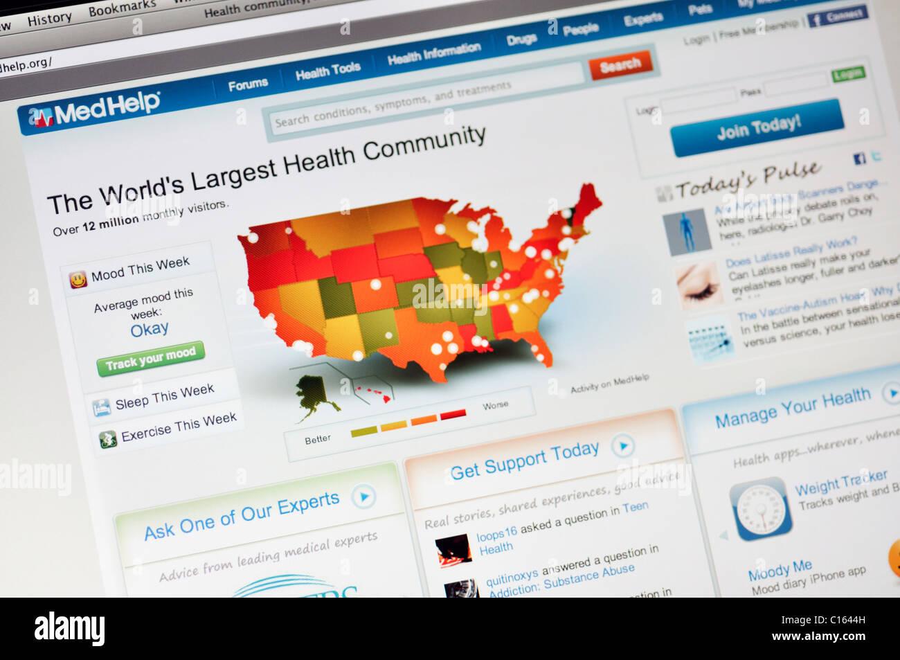 MedHelp-Website - Gesundheit und medizinische Beratung Stockbild
