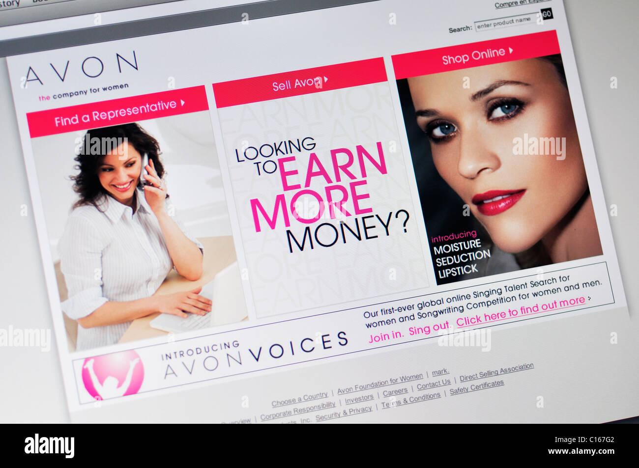 Avon Cosmetics website Stockbild