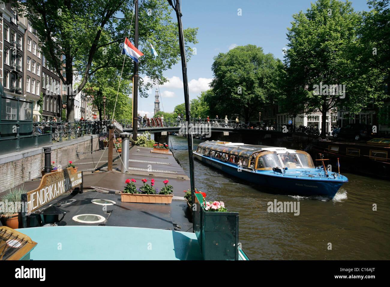 Museum auf einem Hausboot berechtigt Hendrika Maria, Prinsengracht, Amsterdam, Niederlande, Europa Stockbild