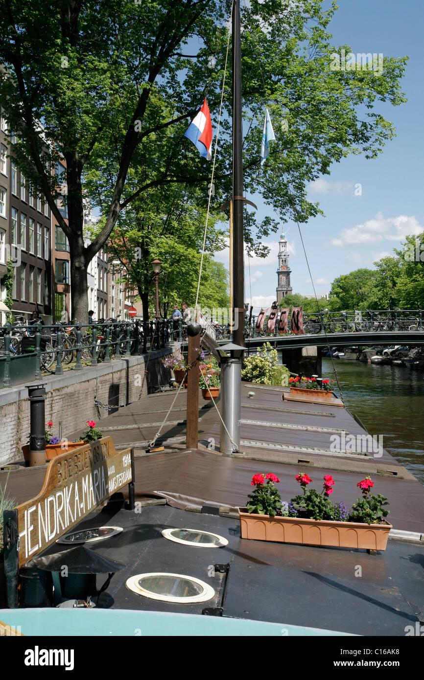 Museum befindet sich auf einem Hausboot mit dem Titel Hendrika Maria, Prinsengracht, Amsterdam, Niederlande, Europa Stockbild