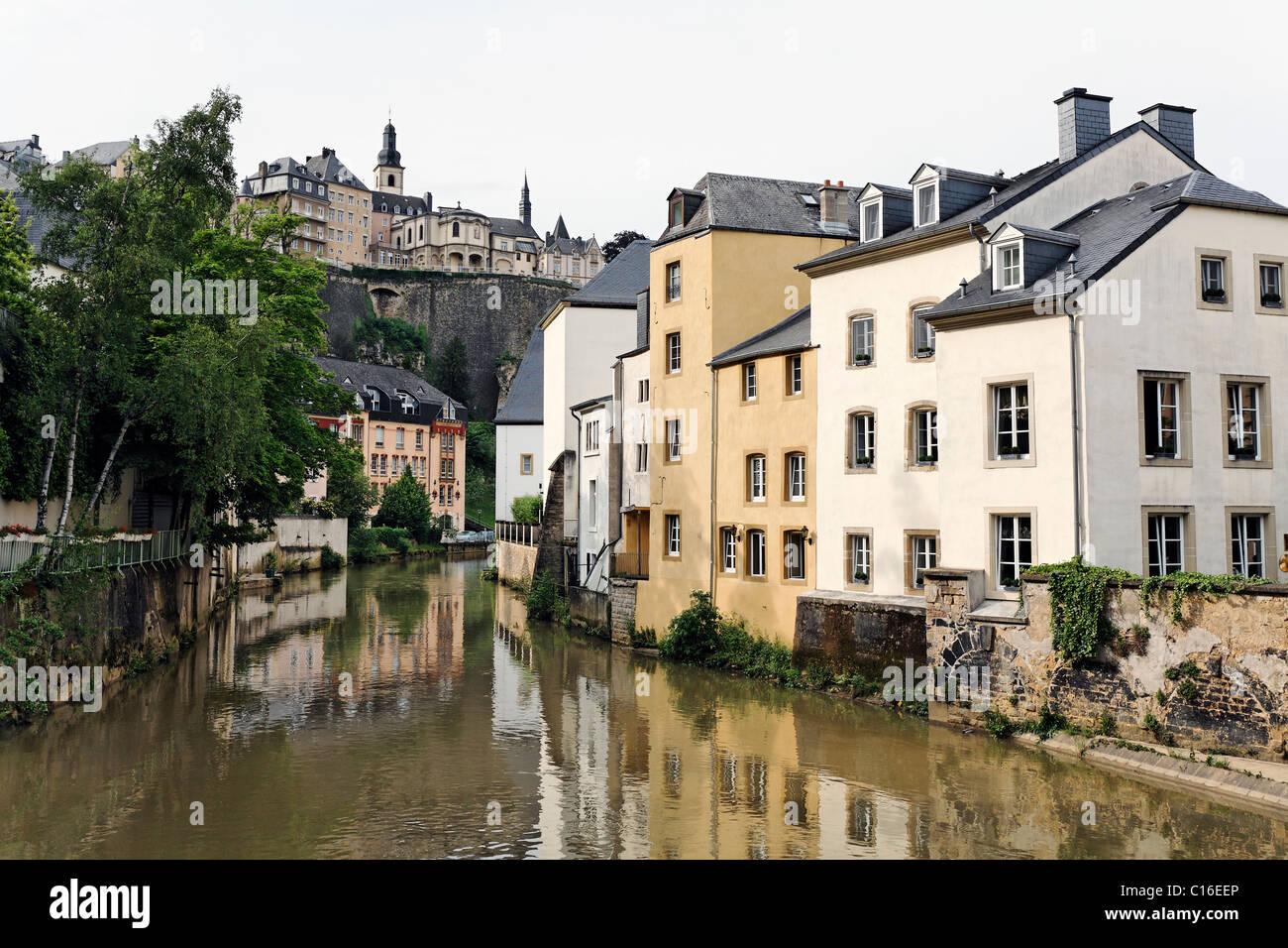 Blick vom Stadtteil Grund mit Wohngebäuden am Fluss Alzette auf dem Bockfelsen Klippen, Luxemburg, Europa Stockbild
