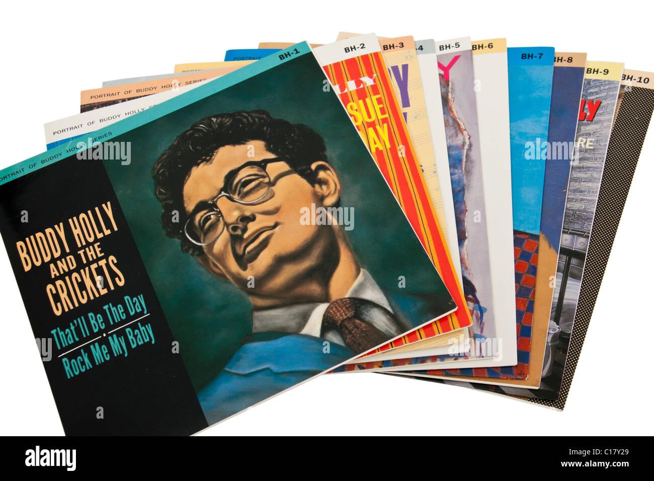 Sammlung von Buddy Holly-Vinyl-Schallplatten / 7' Single / EP Stockbild