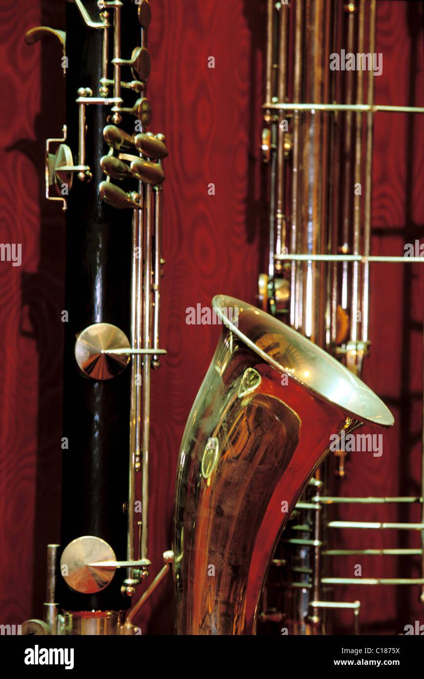 Frankreich, Eure, Couture Boussey, Handwerk und Industrie Blasinstrument-museum Stockbild