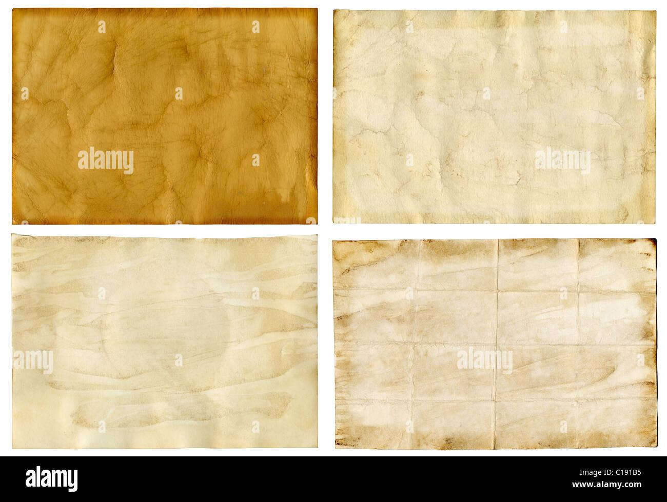 Vier alte Grunge Papier Hintergründe Stockbild