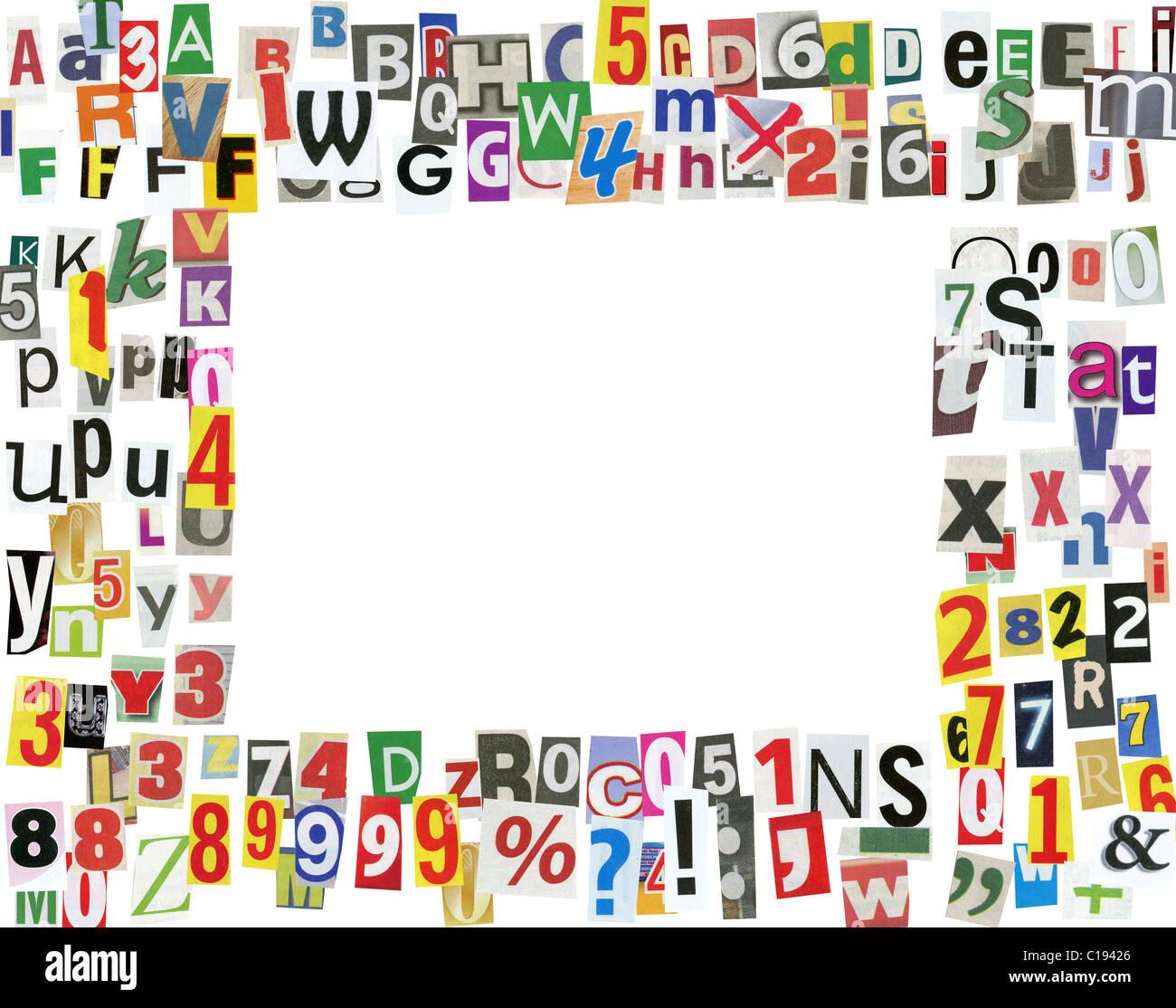 Bilderrahmen, gemacht aus Zeitung Buchstaben, Ziffern und ...