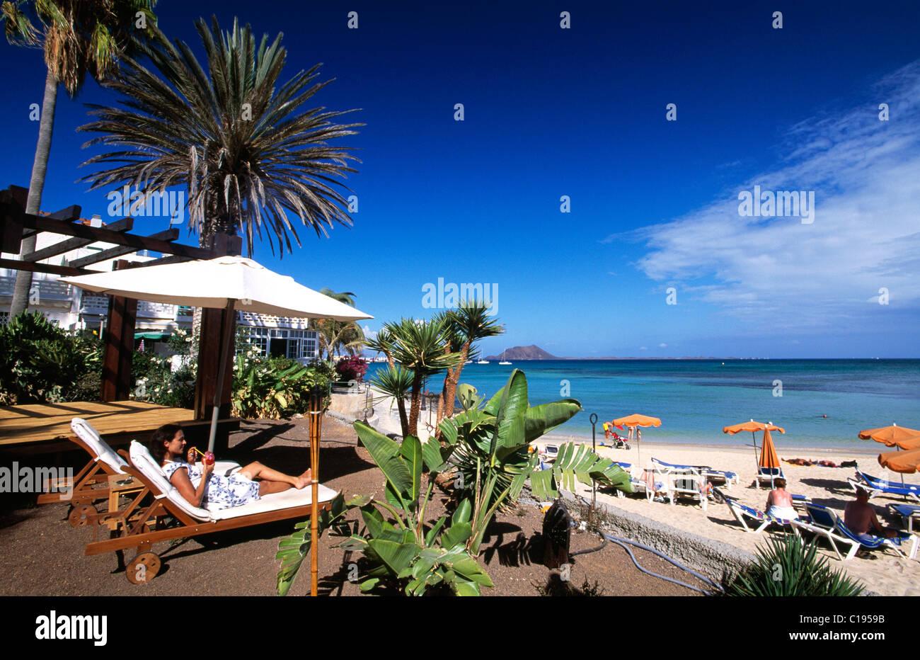 Strand-Bar in Corralejo, Fuerteventura, Kanarische Inseln, Spanien, Europa Stockbild