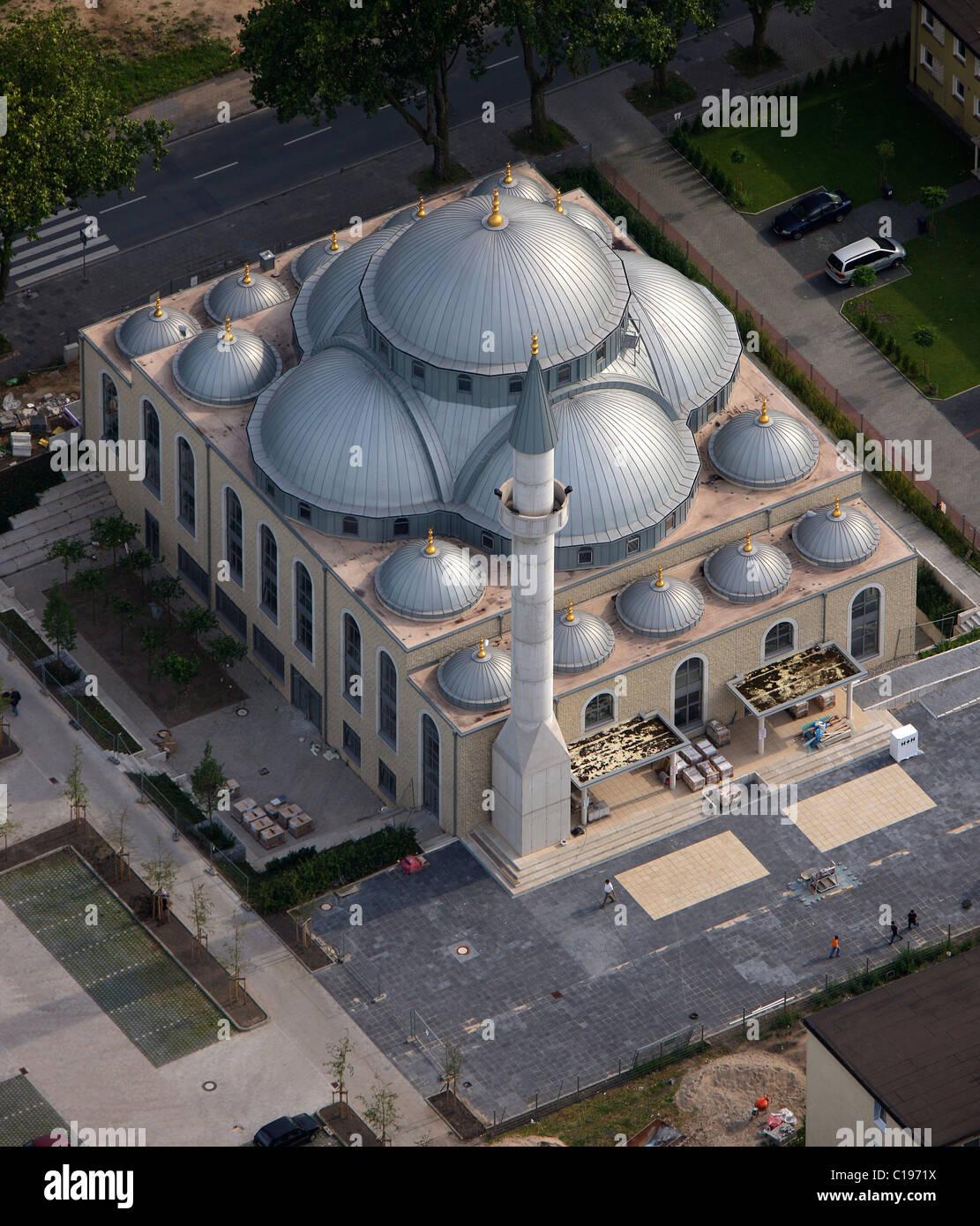 Luftaufnahme, Moschee, Duisburg Farn, Ruhrgebiet, Nordrhein-Westfalen, Deutschland, Europa Stockbild