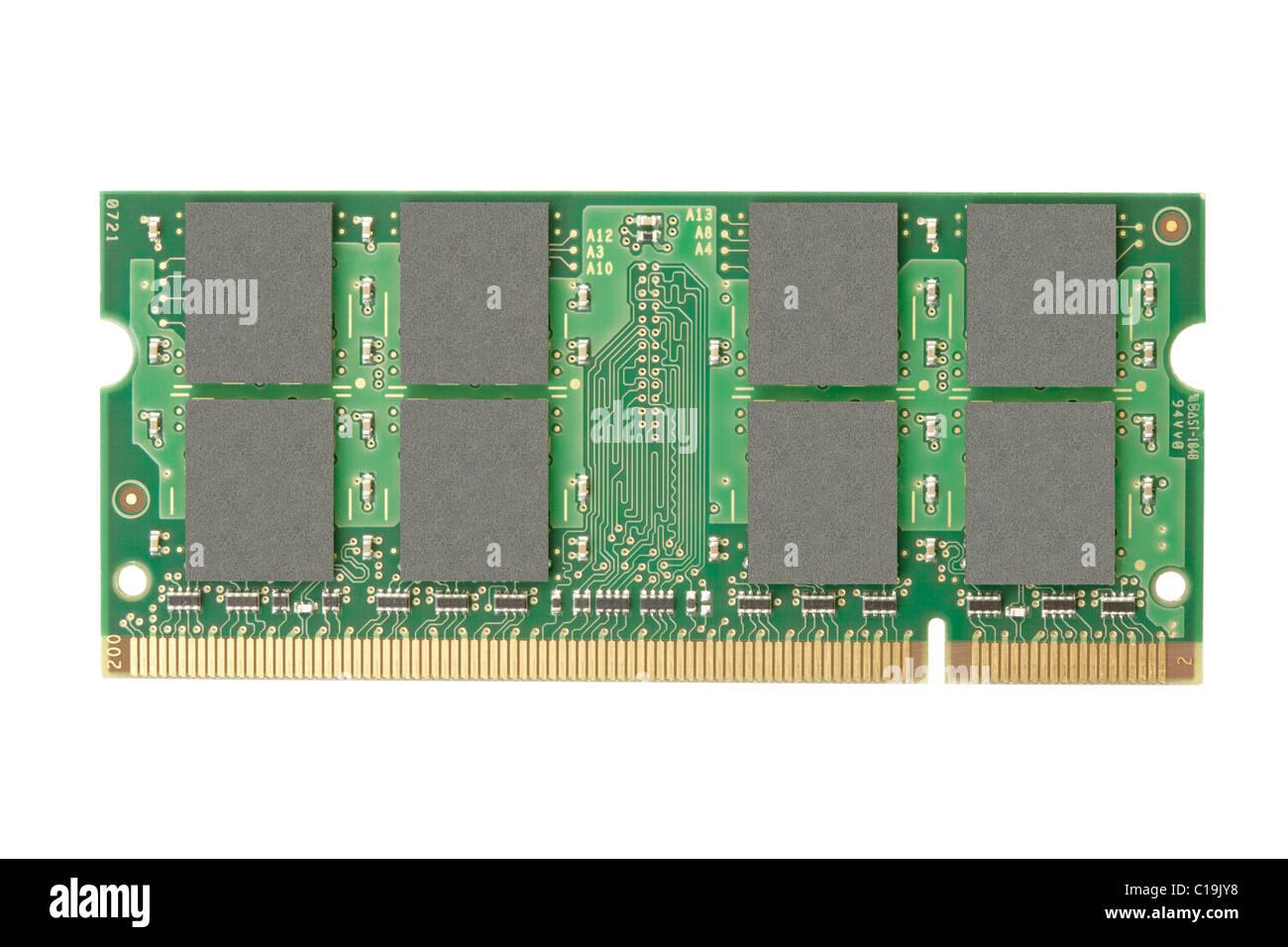 RAM-Speicher isoliert auf weißem Hintergrund Stockfoto