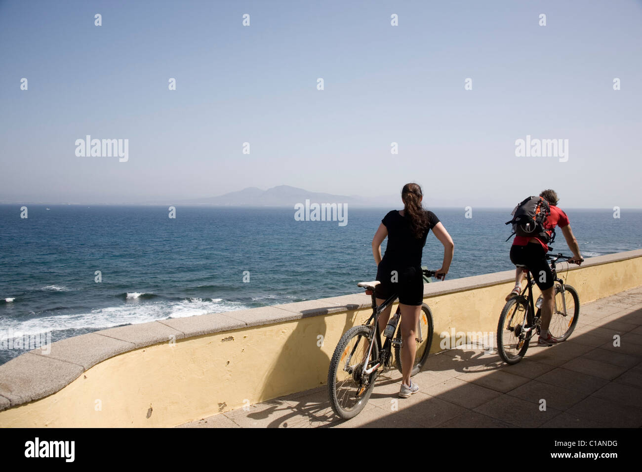 Spanien-Fuerteventura-Isla de Los Lobos Radfahrer Stockbild