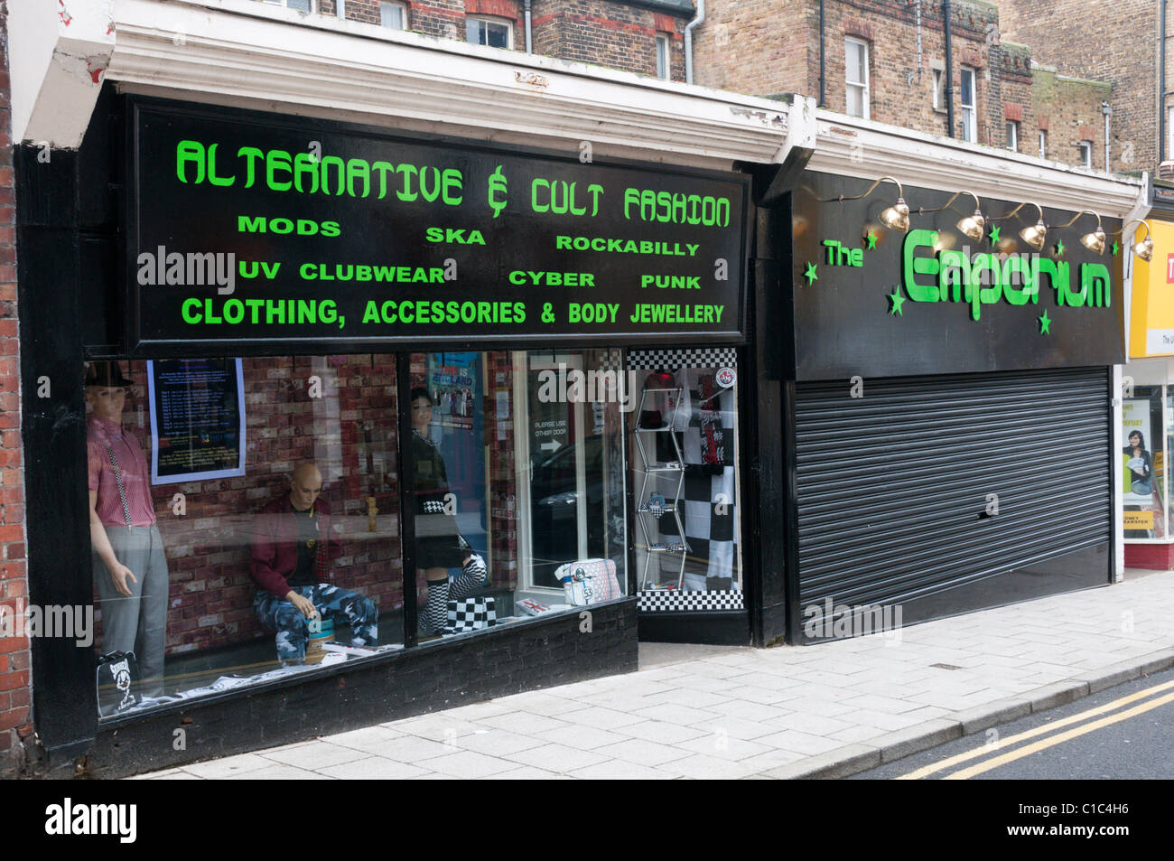 Alternative & Kult Modegeschäft in Margate High Street. Stockbild