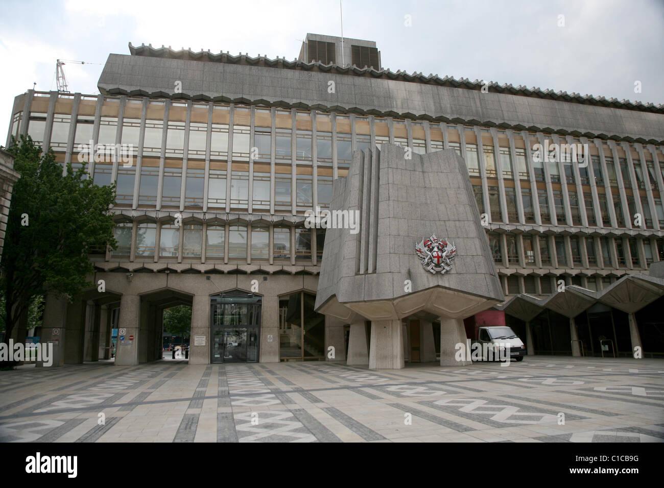 Allgemeine Ansicht Gv der Guildhall im Barbican, London, England. Stockbild