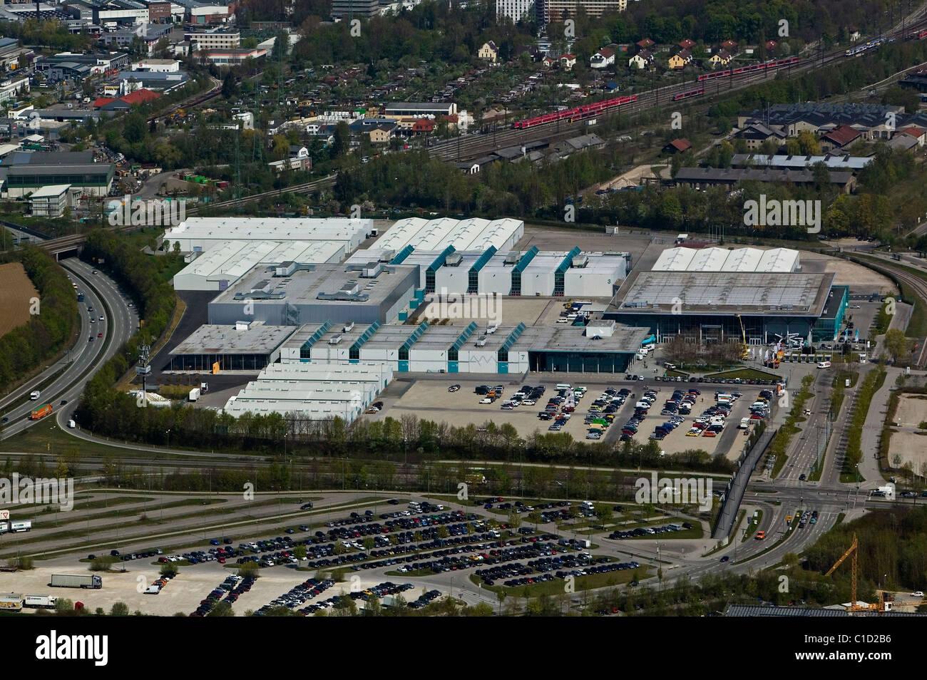 Luftbild oben Messe Augsburg Convention Center Bayern Deutschland Stockbild