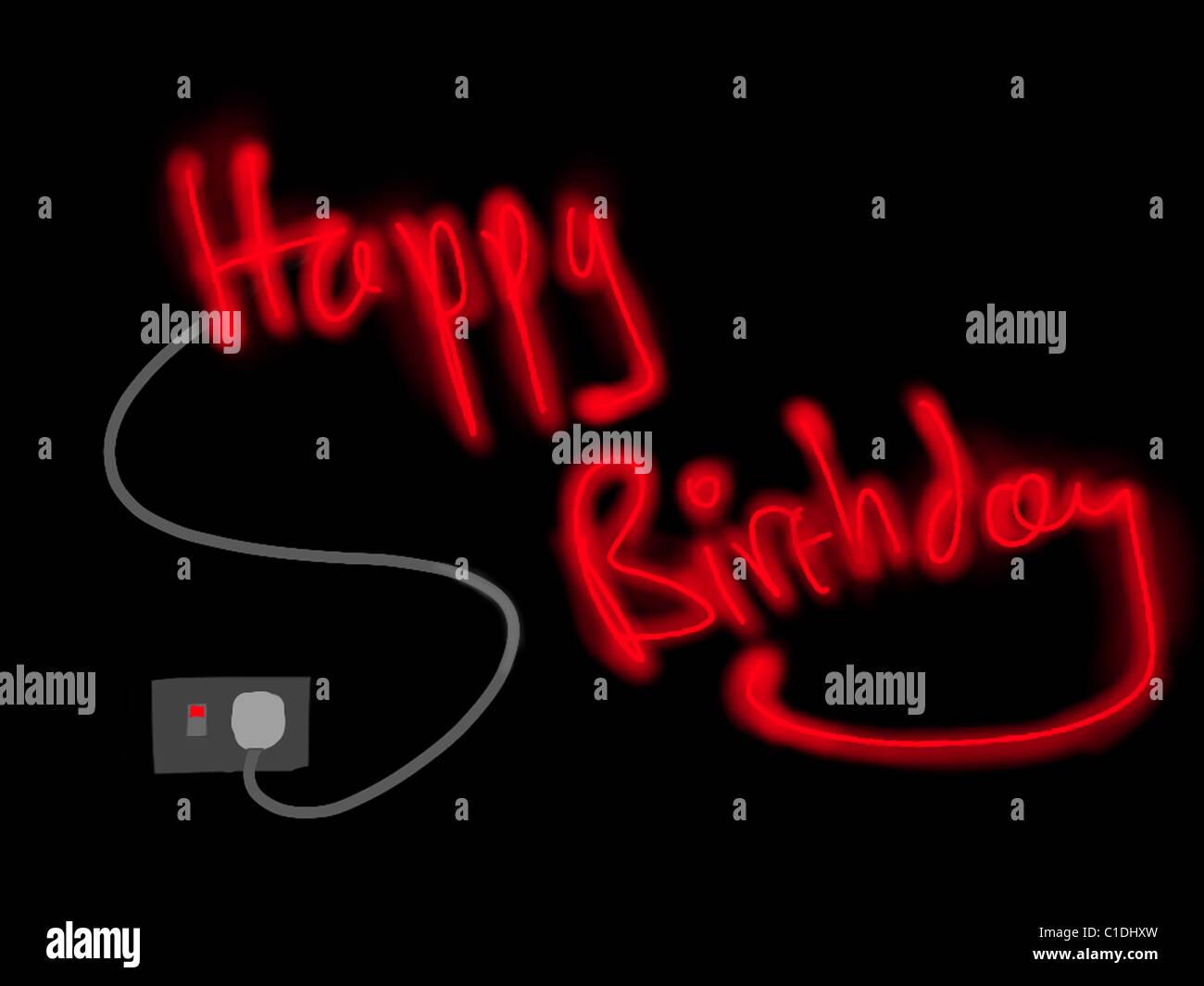 Alles Gute Zum Geburtstag Nachricht In Lichter Stockbild