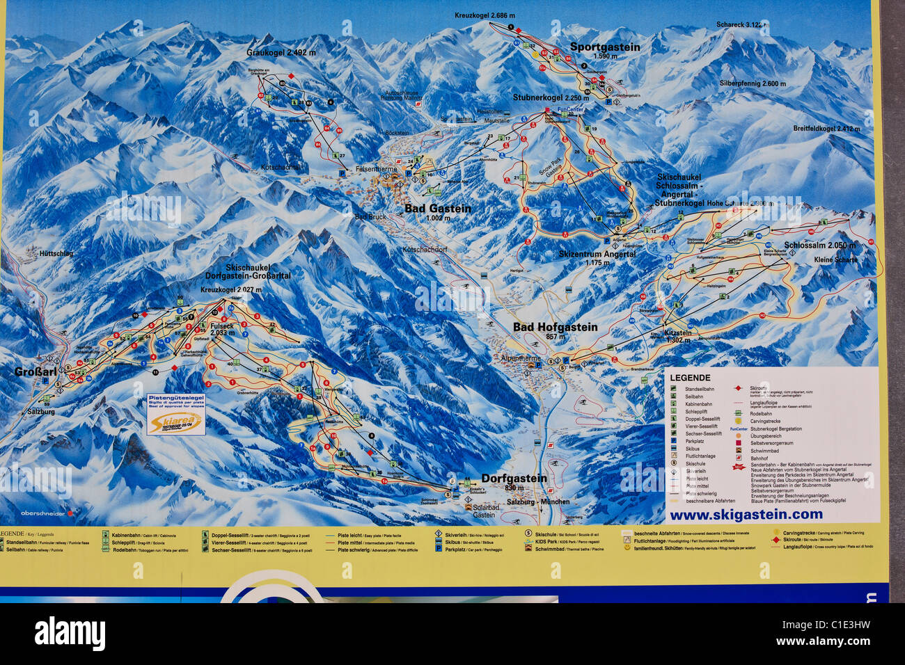ski slope map stockfotos ski slope map bilder alamy. Black Bedroom Furniture Sets. Home Design Ideas