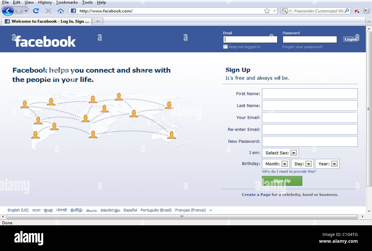 Facebook Home Page Stockfotos Facebook Home Page Bilder Alamy