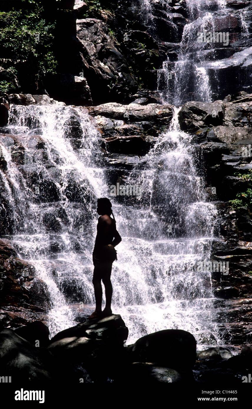Venezuela, Canaïma Bereich, Kavac Wasserfall, Heimat Indien: Pemones Stockbild