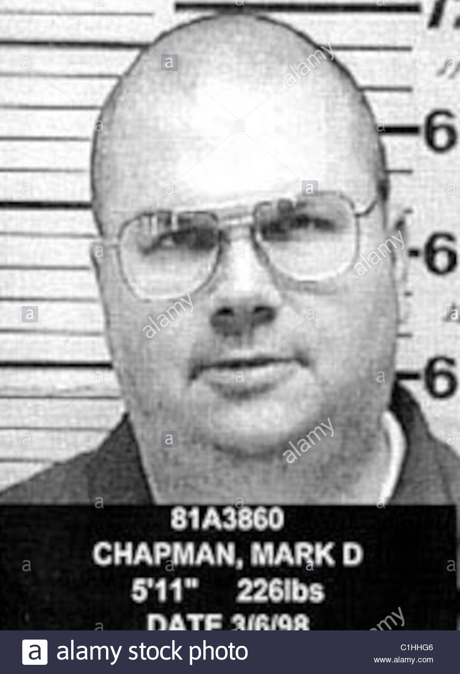 Mark David Chapman Mugshot Stockfoto