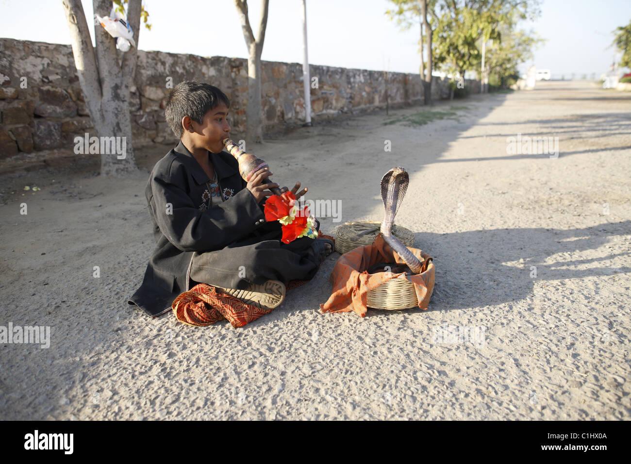 IND, Indien, 20110310, Kleiner Junge als Schlangenbeschwoerer © Gerhard Leber Stockbild