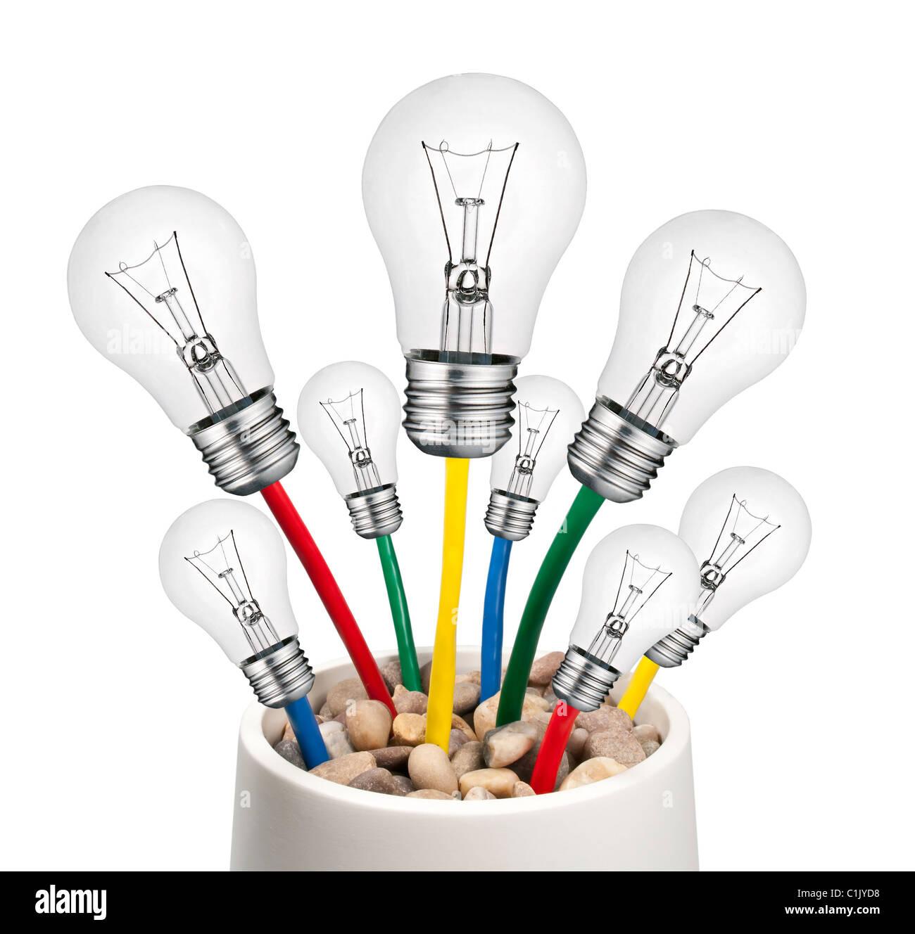 Alternative neue Ideen - Glühbirnen mit Kabel wächst in einem Topf Isolated on White Background Stockbild