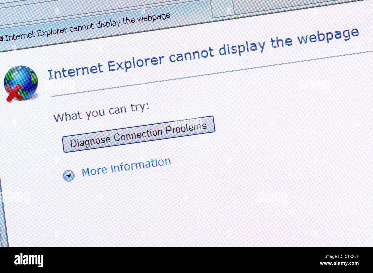 Internet-Fehlermeldung auf einem Computer-Bildschirm Stockbild