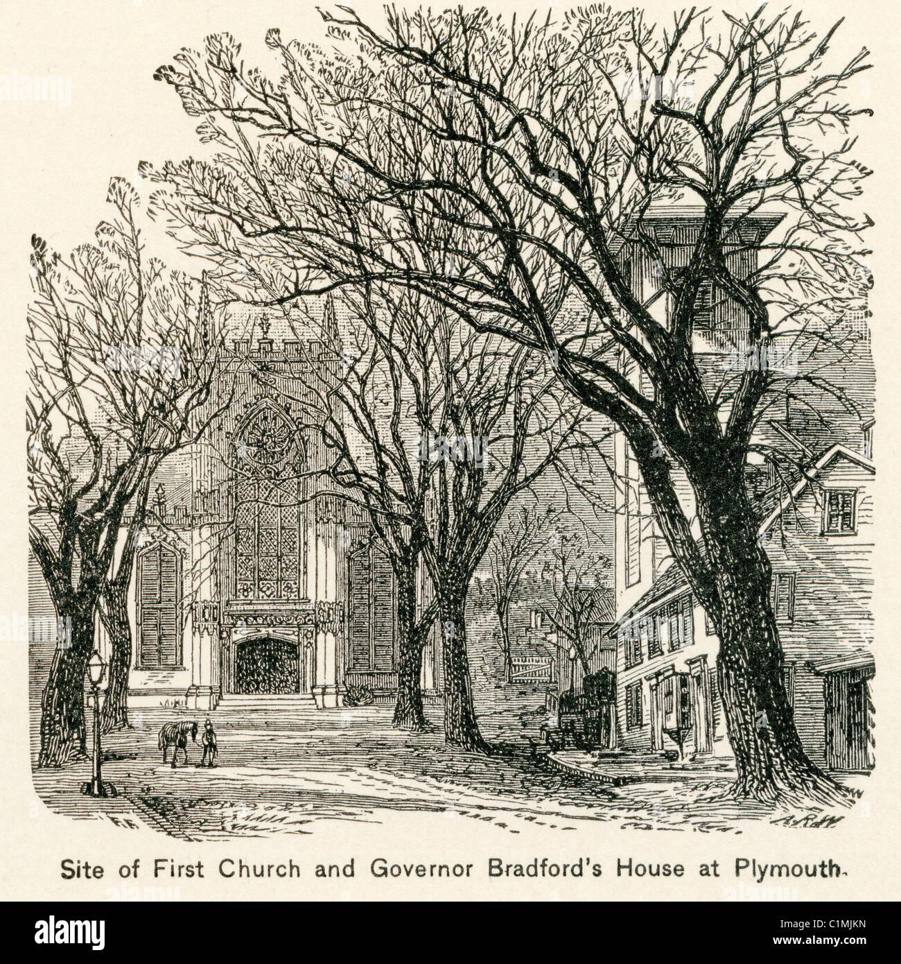 Alte Lithographie von First Church, Plymouth, Massachusetts, USA Stockfoto