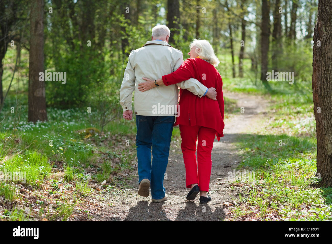 Älteres Paar im Park umarmt Stockbild