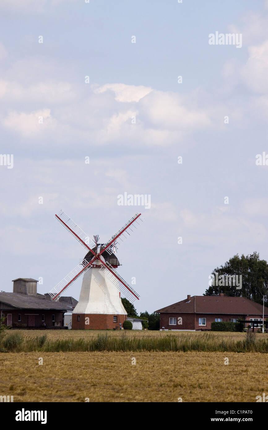 Deutschland, Luneburger Heide, Windmühle auf Bauernhof Stockbild