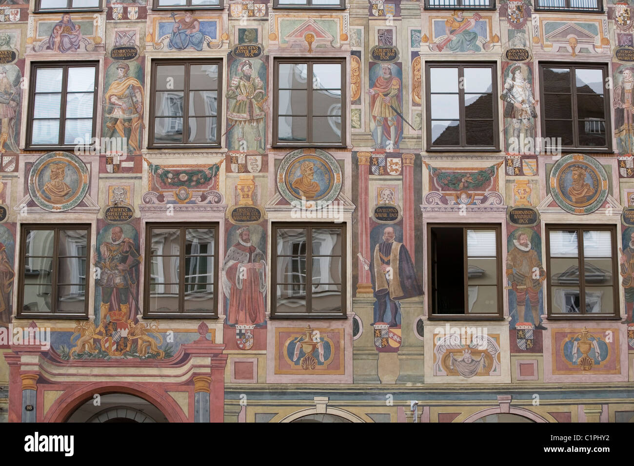 Deutschland, Bayern, Landshut, Sgraffito-Fassade Stockbild