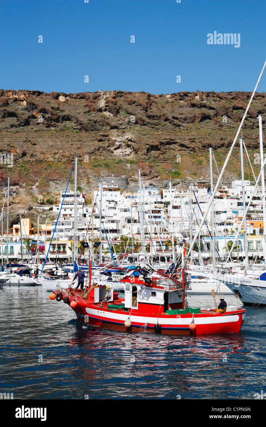 Traditionelles Fischerboot, Puerto de Mogan, Kanarische Inseln, Spanien Stockbild