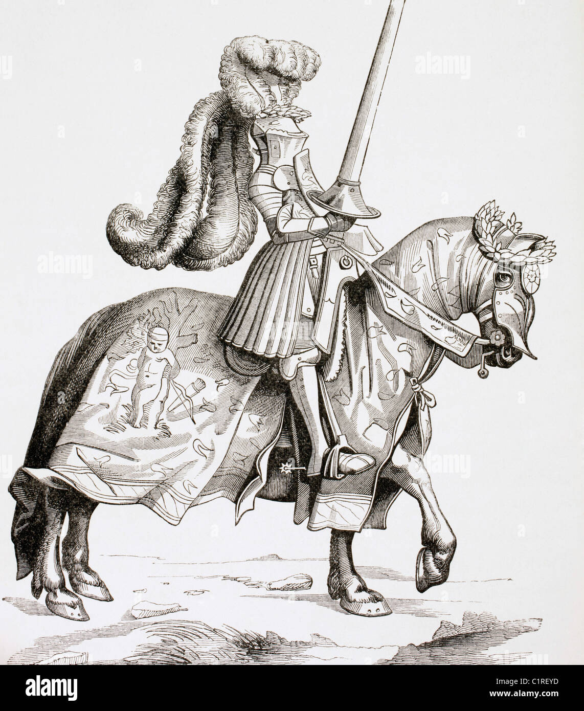Der Champion des Turniers.  Nach einem Kupferstich von Burgmayer, nach einer Zeichnung von Albrecht Dürer... Stockbild