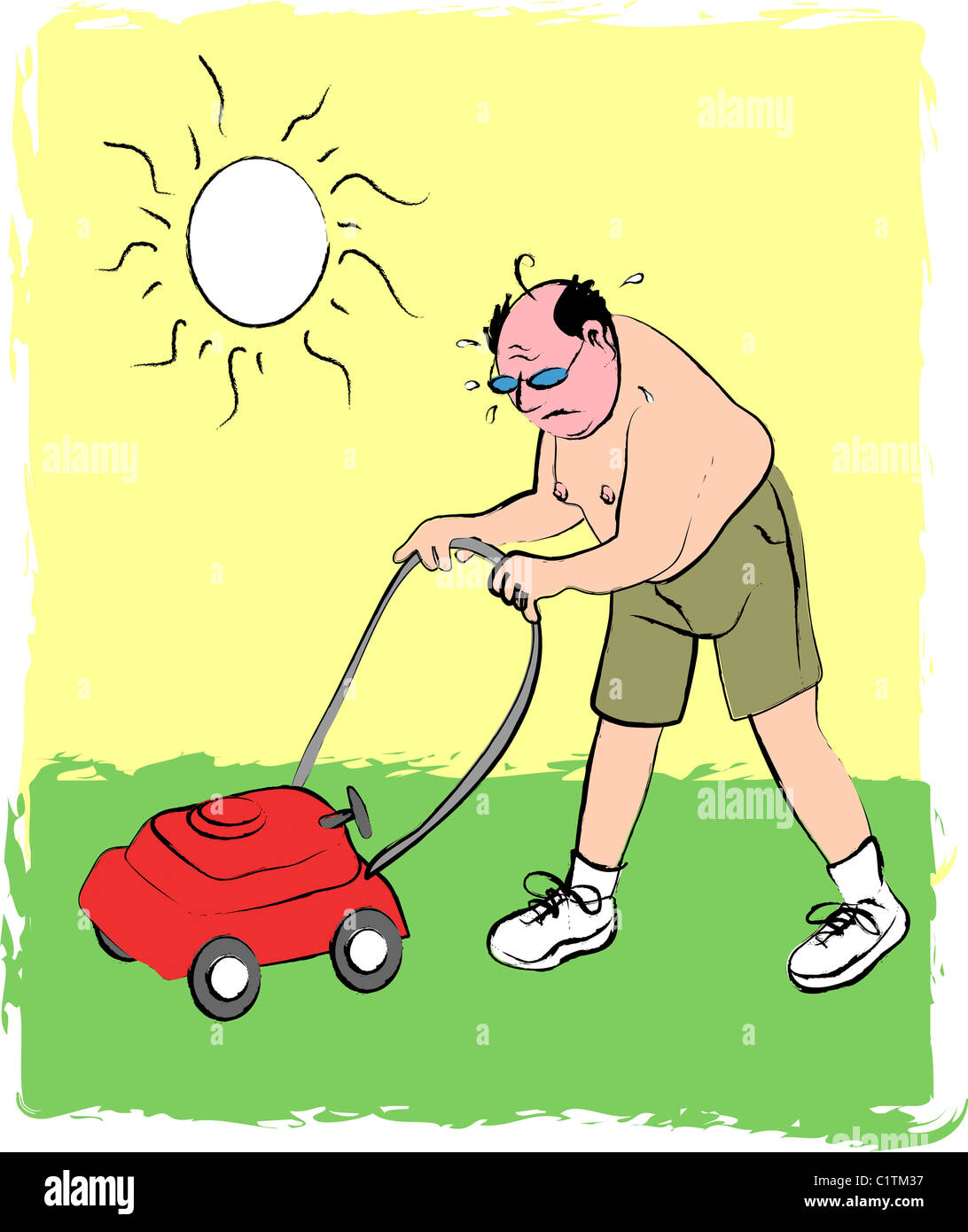 Mann Rasenmahen Abbildung Stockfoto Bild 35578011 Alamy
