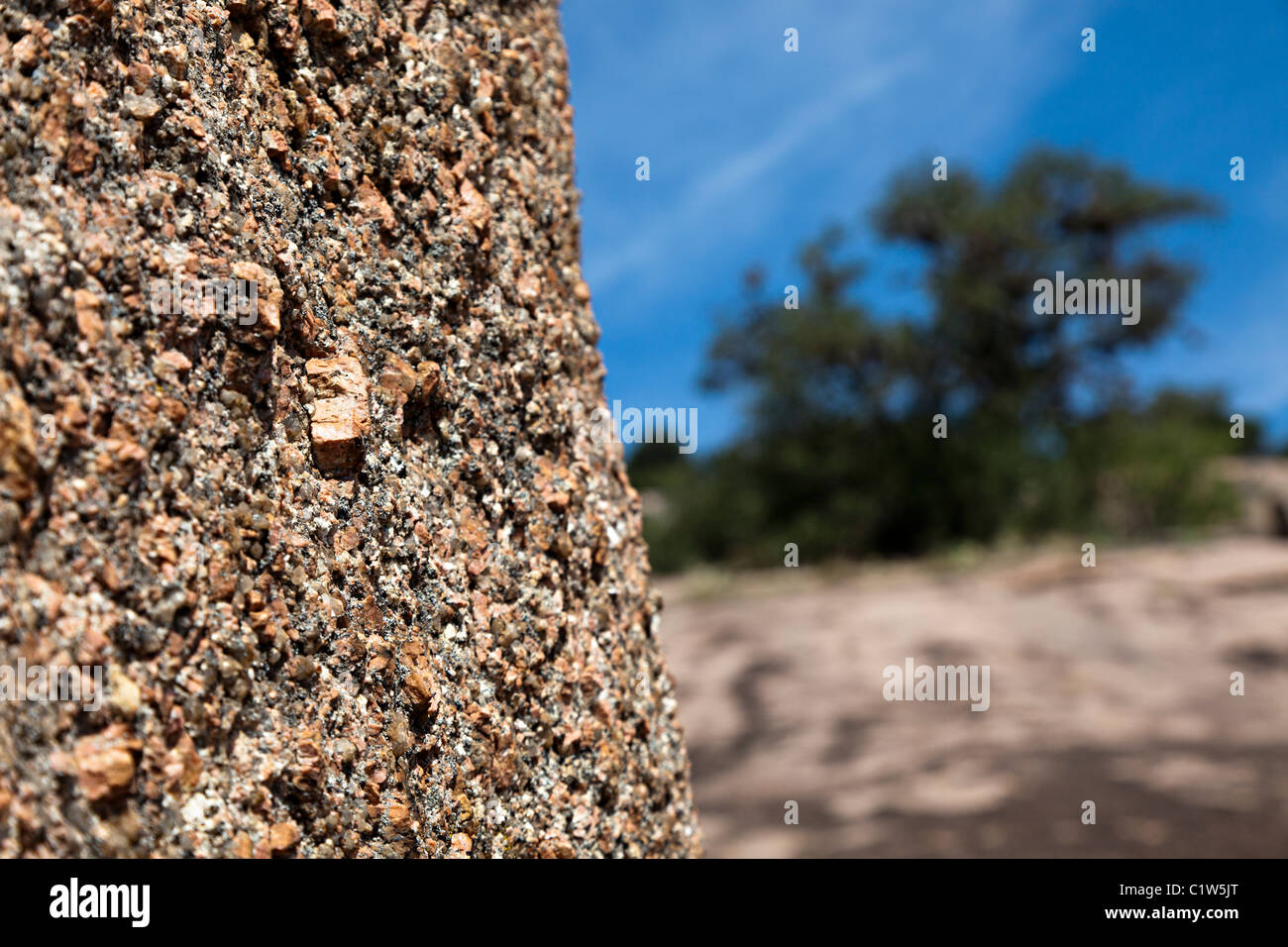 Granit in Enchanted Rock State Natural Area Texas USA Stockbild