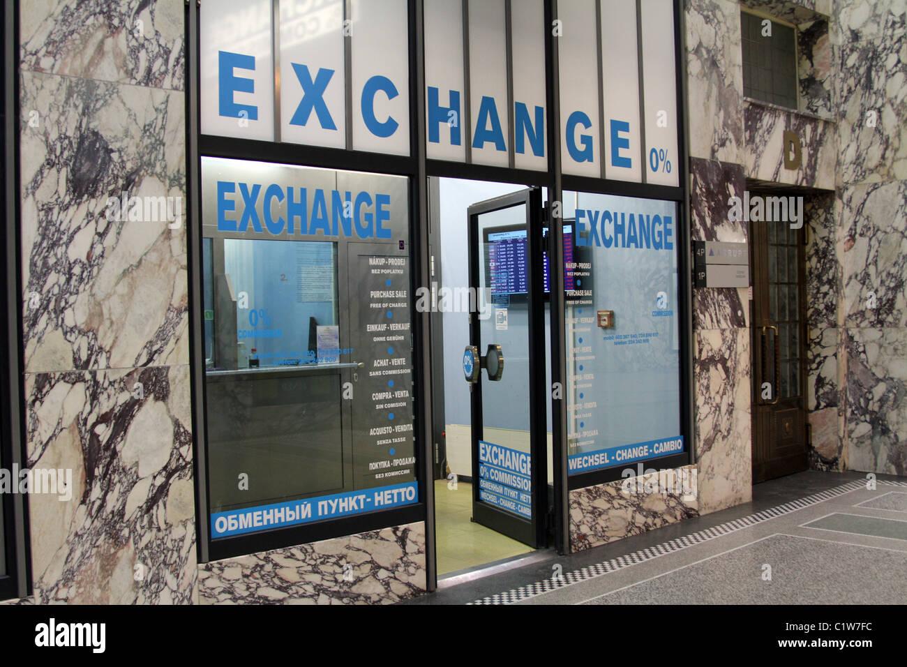 Bureau de change kommission geld austausch shop in prag