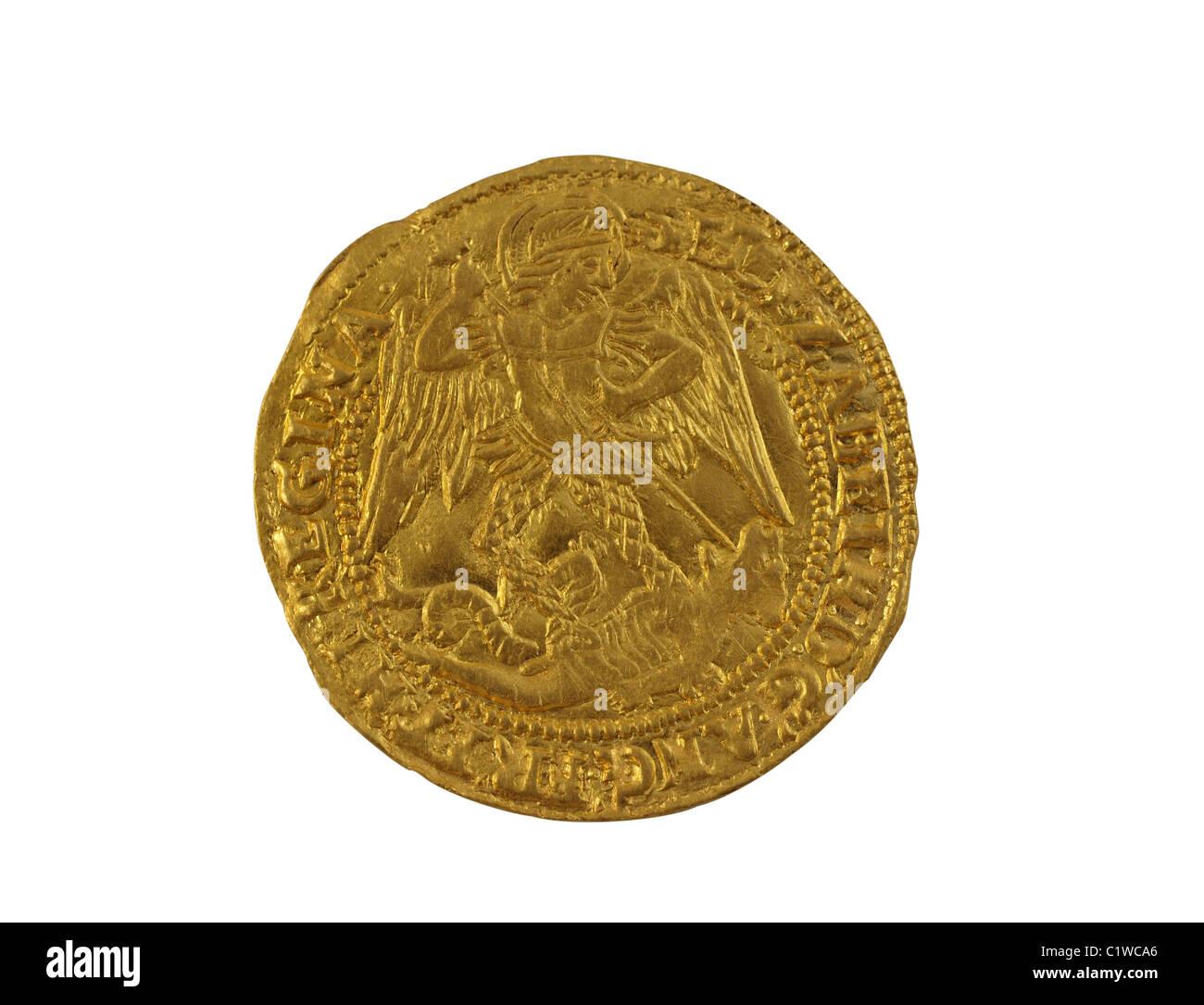 Altgold Engel Gehämmert Münze Elizabeth Ich 1590 1592 Geprägt Zeigt