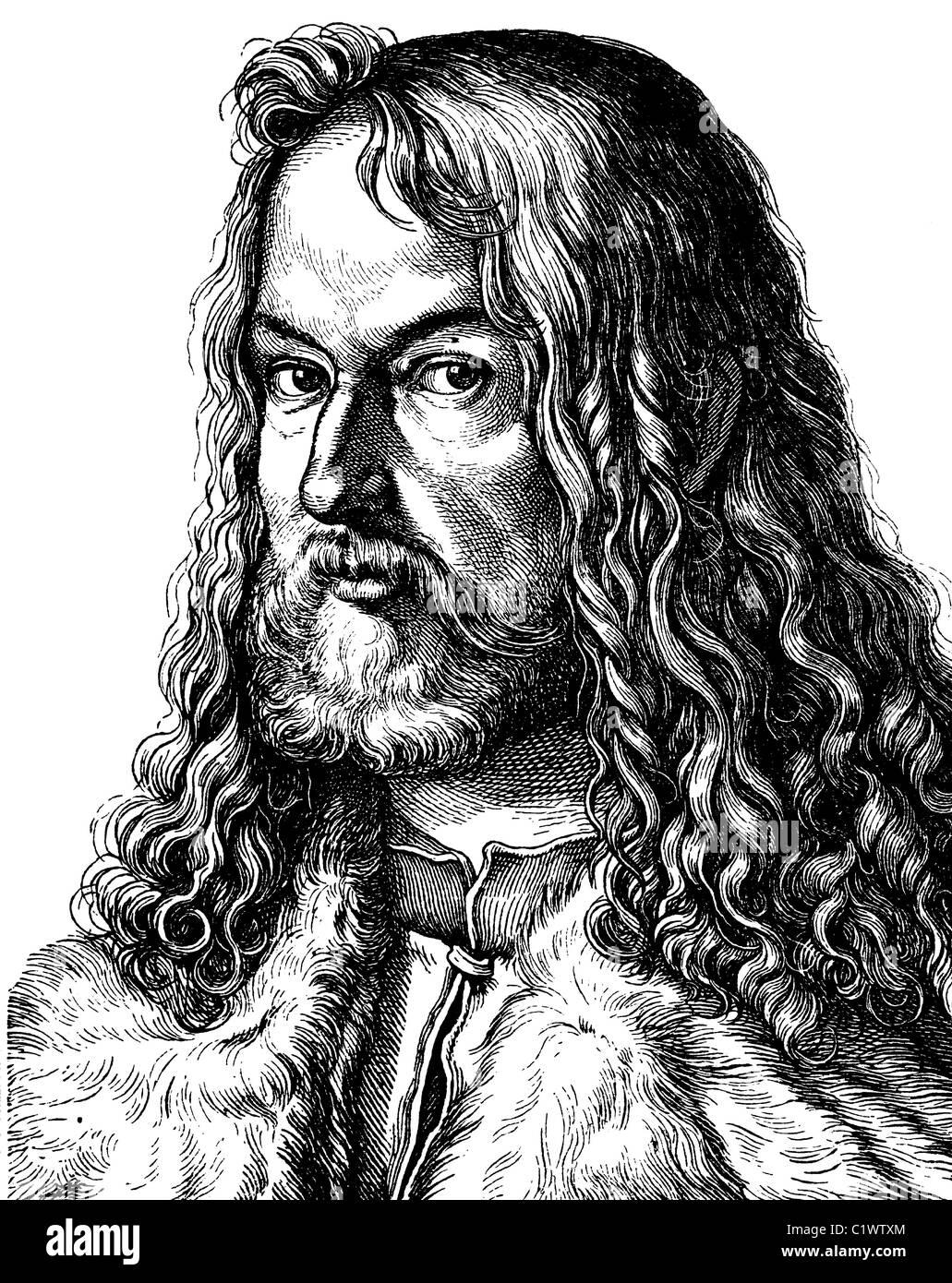 Verbesserte Digitalbild von Albrecht Duerer, Maler, 1471-1528, historische Illustration, Porträt, 1880 Stockbild