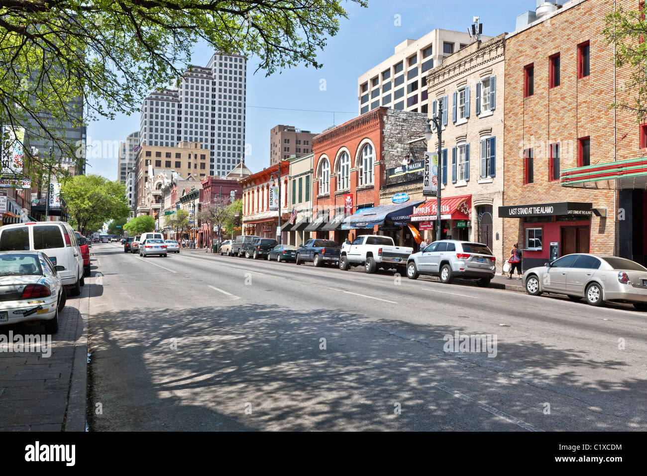 6th Street, Vergnügungsviertel, Austin Stockbild