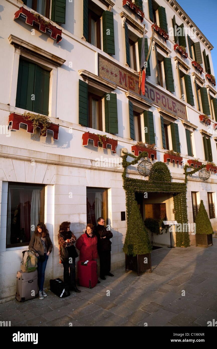 Der Eingang im Hotel Metropole, der Waterfront, Venedig, Italien Stockbild