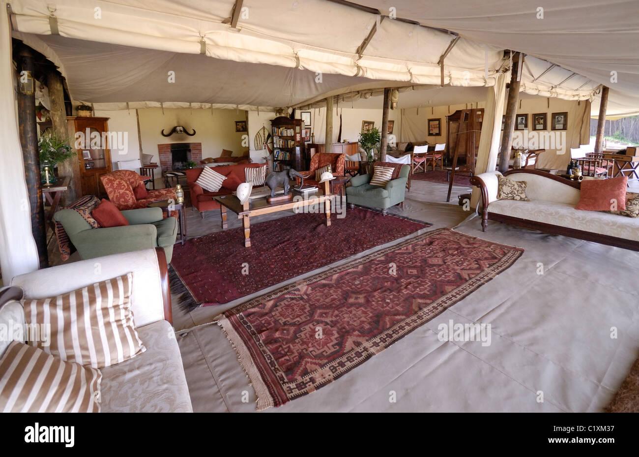 Wohnzimmer In Luxus Cottars 1920er Eher Camp, Masai Mara, Kenia, Afrika