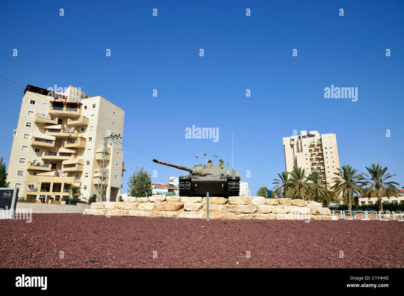 Beer Sheva, Israel A Tank auf einen Kreisverkehr in der Stadt Stockbild