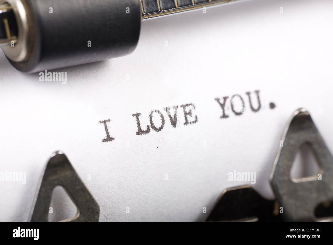Schreibmaschine Nahaufnahme Schuss, Konzept von I Love You Stockbild